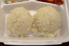 Two scoops of white rice