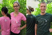 New CTAHR t-shirts in pink and dark green