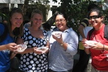 Students eating ice cream at Welcome Back Ice Cream Bash
