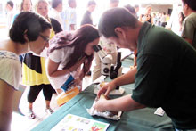 Visitors at an Agriculture Awareness Day display