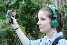 girl with recording device