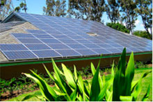 Solar panels on a house.