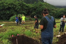 Students assess soil at Waimanalo Research Station