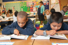 Children reading in school