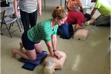 Kauai Extension faculty doing CPR training