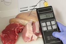 Meat with thermometer