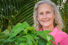 Diane Ragone with a breadfruit plant