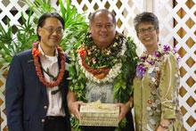 Kelvin Sewake with Dean Maria Gallo receiving the HFNA award