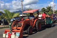 CTAHR tractor in Waimanalo Christmas parade